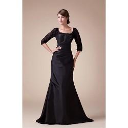 A-line Mother of the Bride Dress - Black Court Train Taffeta