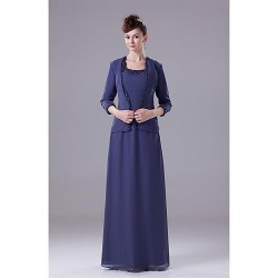 Sheath Column Mother Of The Bride Dress Royal Blue Floor Length Chiffon