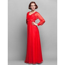 A Line Plus Sizes Petite Mother Of The Bride Dress Ruby Floor Length Long Sleeve Chiffon