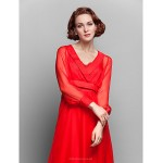 A-line Plus Sizes / Petite Mother of the Bride Dress - Ruby Floor-length Long Sleeve Chiffon Mother Of The Bride Dresses