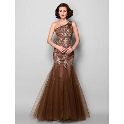 Trumpet Mermaid Plus Sizes Petite Mother Of The Bride Dress Brown Floor Length Sleeveless Satin Tulle
