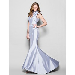 Trumpet Mermaid Plus Sizes Petite Mother Of The Bride Dress Silver Sweep Brush Train Sleeveless Taffeta