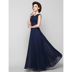 A Line Mother Of The Bride Dress Dark Navy Ankle Length Sleeveless Chiffon