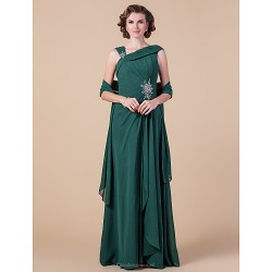 Sheath/Column Plus Sizes / Petite Mother of the Bride Dress - Dark Green Floor-length Sleeveless Chiffon