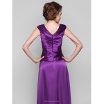 A-line Plus Sizes / Petite Mother of the Bride Dress - Grape Floor-length Sleeveless Stretch Satin Mother Of The Bride Dresses