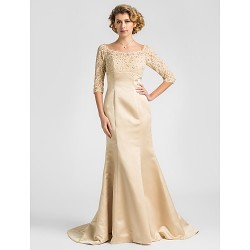 Trumpet Mermaid Plus Sizes Petite Mother Of The Bride Dress Champagne Sweep Brush Train Half Sleeve Satin Lace