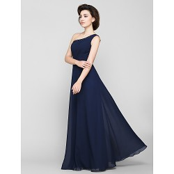 A Line Mother Of The Bride Dress Dark Navy Floor Length Sleeveless Chiffon