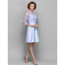 Sheath Column Mother Of The Bride Dress Lavender Knee Length 3 4 Length Sleeve Lace Taffeta