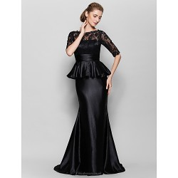 Trumpet Mermaid Mother Of The Bride Dress Black Floor Length Half Sleeve Lace Charmeuse