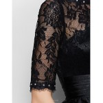 Trumpet/Mermaid Mother of the Bride Dress - Black Floor-length Half Sleeve Lace / Charmeuse Mother Of The Bride Dresses