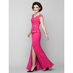 Trumpet/Mermaid Mother of the Bride Dress - Fuchsia Ankle-length Sleeveless Chiffon / Lace