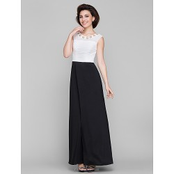 A-line Mother of the Bride Dress - Ivory / Black Ankle-length Sleeveless Chiffon / Jersey