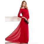 Sheath/Column Mother of the Bride Dress - Burgundy Floor-length 3/4 Length Sleeve Chiffon Mother Of The Bride Dresses