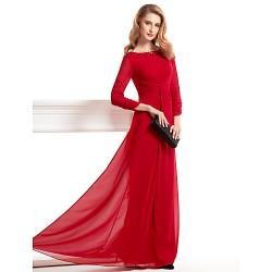 Sheath/Column Mother of the Bride Dress - Burgundy Floor-length 3/4 Length Sleeve Chiffon