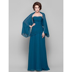 Sheath/Column Plus Sizes / Petite Mother of the Bride Dress - Ink Blue Floor-length Long Sleeve Chiffon