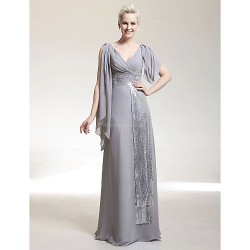 Formal Evening Military Ball Dress Silver Plus Sizes Petite Sheath Column V Neck Floor Length Chiffon Sequined