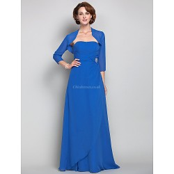 Sheath Column Plus Sizes Petite Mother Of The Bride Dress Royal Blue Floor Length 3 4 Length Sleeve Chiffon