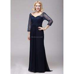 A-line Mother of the Bride Dress - Dark Navy Floor-length Chiffon