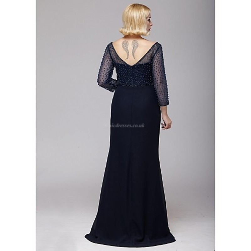 A Line Mother Of The Bride Dress Dark Navy Floor Length