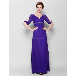 Sheath/Column Plus Sizes / Petite Mother of the Bride Dress - Royal Blue Floor-length Half Sleeve Chiffon