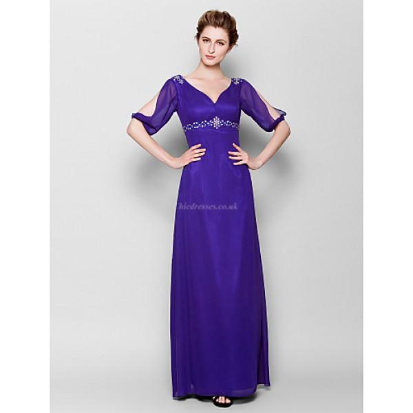 Sheath/Column Plus Sizes / Petite Mother of the Bride Dress - Royal Blue Floor-length Half Sleeve Chiffon Mother Of The Bride Dresses