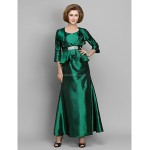 A-line Mother of the Bride Dress - Dark Green Ankle-length 3/4 Length Sleeve Taffeta Mother Of The Bride Dresses