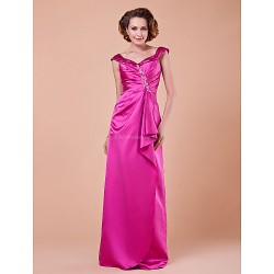 Sheath Column Plus Sizes Petite Mother Of The Bride Dress Fuchsia Floor Length Sleeveless Satin