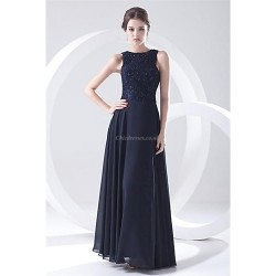 Formal Evening Dress Dark Navy Plus Sizes Petite A Line Jewel Floor Length Chiffon