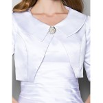 A-line Plus Sizes / Petite Mother of the Bride Dress - White Floor-length Half Sleeve Satin Mother Of The Bride Dresses