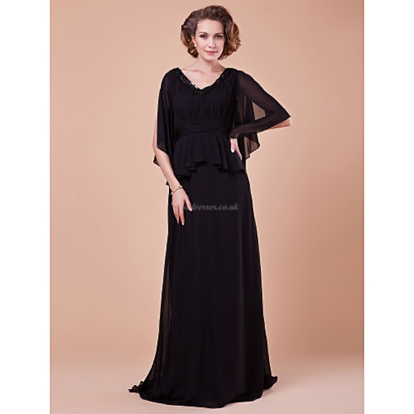 dc95b985f4a A-line Plus Sizes   Petite Mother of the Bride Dress - Black Sweep ...