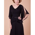 A-line Plus Sizes / Petite Mother of the Bride Dress - Black Sweep/Brush Train Half Sleeve Chiffon Mother Of The Bride Dresses