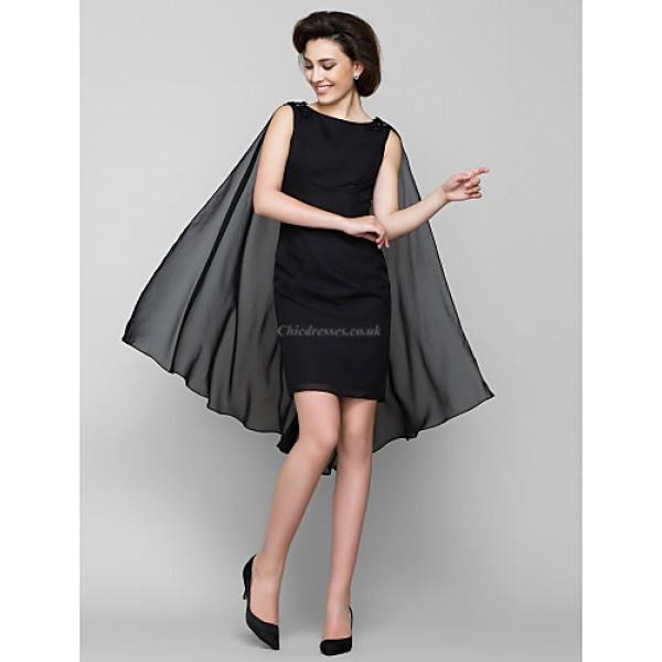 Sheath/Column Mother of the Bride Dress - Black Knee-length Sleeveless Chiffon Mother Of The Bride Dresses
