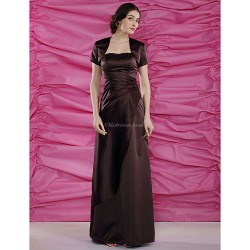 Sheath Column Plus Sizes Petite Mother Of The Bride Dress Chocolate Floor Length Short Sleeve Satin