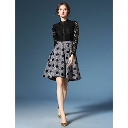 A-line Mother of the Bride Dress - Dark Navy / Black / Print Knee-length Long Sleeve Lace / Polyester