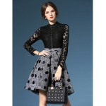 A-line Mother of the Bride Dress - Dark Navy / Black / Print Knee-length Long Sleeve Lace / Polyester Mother Of The Bride Dresses