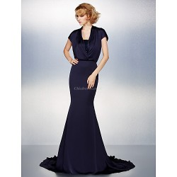 Trumpet Mermaid Plus Sizes Petite Mother Of The Bride Dress Dark Navy Court Train Short Sleeve Satin Chiffon