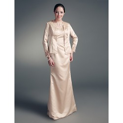 Sheath/Column Plus Sizes / Petite Mother of the Bride Dress - Champagne Floor-length Long Sleeve Satin