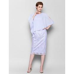 Sheath Column Plus Sizes Petite Mother Of The Bride Dress Sky Blue Knee Length 3 4 Length Sleeve Chiffon Lace