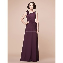 A Line Plus Sizes Petite Mother Of The Bride Dress Grape Floor Length Sleeveless Chiffon