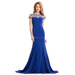 Trumpet Mermaid Mother Of The Bride Dress Royal Blue Sweep Brush Train Short Sleeve Jersey