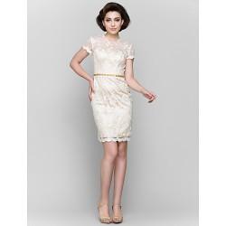 Sheath/Column Mother of the Bride Dress - Champagne Short/Mini Short Sleeve Lace