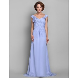 A Line Plus Sizes Petite Mother Of The Bride Dress Lavender Sweep Brush Train Sleeveless Chiffon