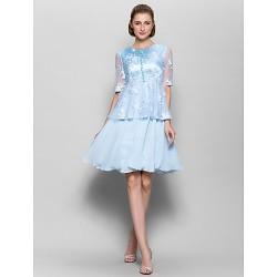 A Line Mother Of The Bride Dress Sky Blue Knee Length Half Sleeve Chiffon Lace