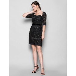 Knee Length Lace Bridesmaid Dress Black Plus Sizes Petite Sheath Column Sweetheart