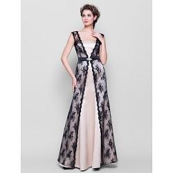 Floor-length Lace / Satin Bridesmaid Dress - Champagne Plus Sizes / Petite Sheath/Column Straps
