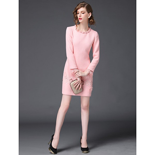 Sheath/Column Mother of the Bride Dress - Pearl Pink / Black Short/Mini Long Sleeve Polyester Mother Of The Bride Dresses