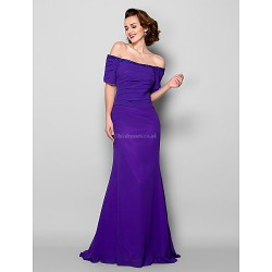 Trumpet Mermaid Plus Sizes Petite Mother Of The Bride Dress Regency Court Train Short Sleeve Georgette