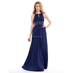 A-line Mother of the Bride Dress - Dark Navy Floor-length Sleeveless Jersey