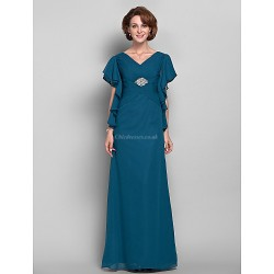 Sheath/Column Plus Sizes / Petite Mother of the Bride Dress - Ink Blue Floor-length Short Sleeve Chiffon
