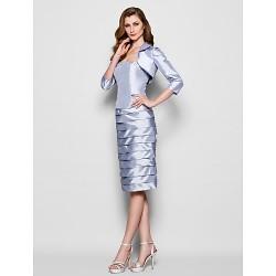 Sheath Column Plus Sizes Petite Mother Of The Bride Dress Silver Knee Length 3 4 Length Sleeve Taffeta
